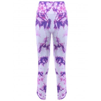 Sports Elastic Waist Tie Dyed Cropped Leggings