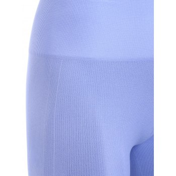 Sports Elastic Waist Solild Color Cropped Leggings - LIGHT BLUE XL