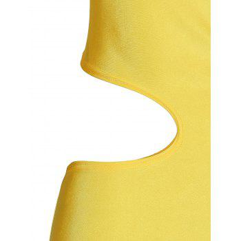 Casual One-Shoulder Sleeveless One-Piece Hollow Out Women's Swimwear - YELLOW YELLOW