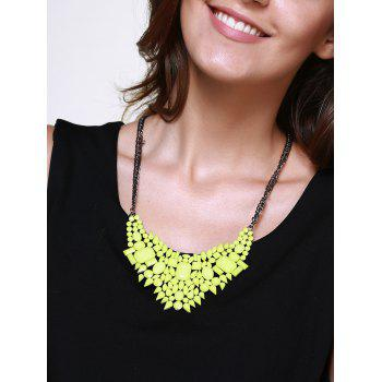 Faux Gem Embellished Geometric Pendant Necklace - NEON GREEN