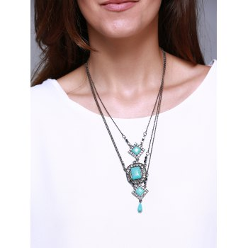 Faux Turquoise Oval Rhombus Multilayered Necklace