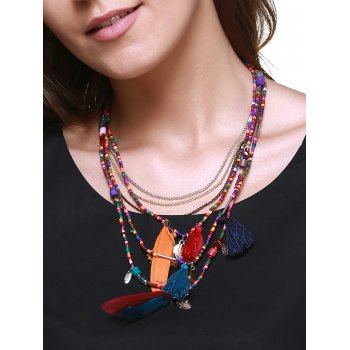 Ethnic Multilayer Faux Feather Tassel Bead Necklace - COLORMIX