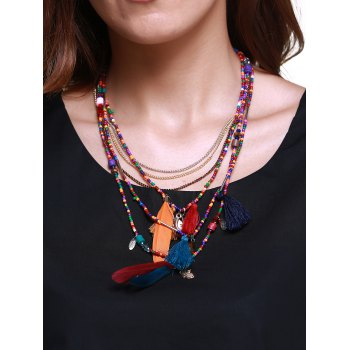 Ethnic Multilayer Faux Feather Tassel Bead Necklace