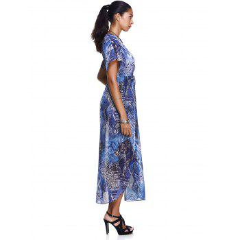 Elegant Women's Plunging Neck Robes Soft Chiffon Dress With Short Sleeves - BLUE L
