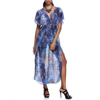 Elegant Women's Plunging Neck Robes Soft Chiffon Dress With Short Sleeves