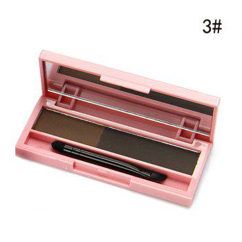 Cosmetic 2 Colours Long Lasting Sweatproof Smudge-Proof Eyebrow Powder Palette with Brush and Mirror - 03