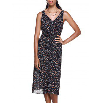 Fashionable Women's Small Broken Flower V-Neck Meadow Maxi Dress
