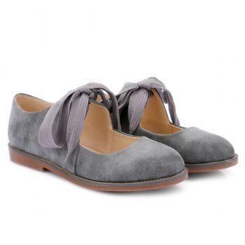 Sweet Round Toe and Lace-Up Design Women's Flat Shoes - GRAY 38