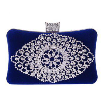 Gorgeous Rhinestone and Flock Design Women's Evening Bag - BLUE BLUE