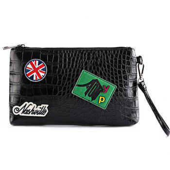 Fashion Black Color and Zip Design Men's Clutch Bag