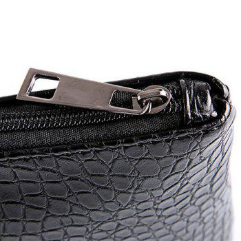 Fashion Black Color and Zip Design Men's Clutch Bag -  BLACK