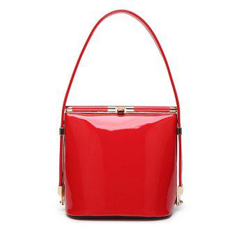Stylish Patent Leather and Metal Design Shoulder Bag For Women