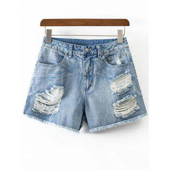 Fashion Rough Selvedge Ripped Denim Shorts For Women