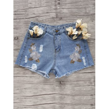 Stylish Broken Hole Flower Embroidery Denim Women's Shorts