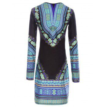 Stylish Round Neck Long Sleeve Bodycon Printed Women's Dress - COLORMIX M