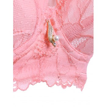 Women's Graceful Laced Embroidery Padded Bra - PEACH PINK 80C
