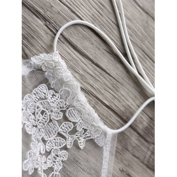 Simple Style Halter Laced Embroidery Crop Top For Women - WHITE M