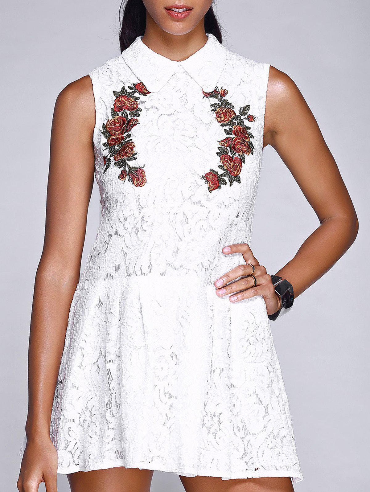 Peter Pan Collar Floral Embroidered Pleated Ladylike Women's Lace Dress - WHITE L