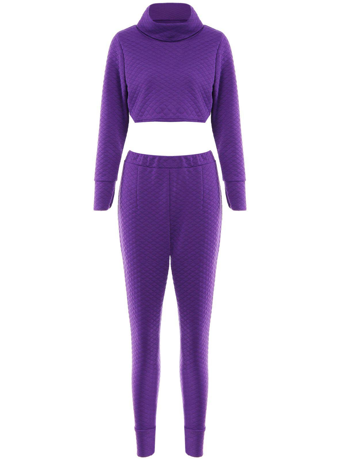 Stylish Women's Turtkeneck Long Sleeve Solid Color Crop Top and Pants Suit - PURPLE M