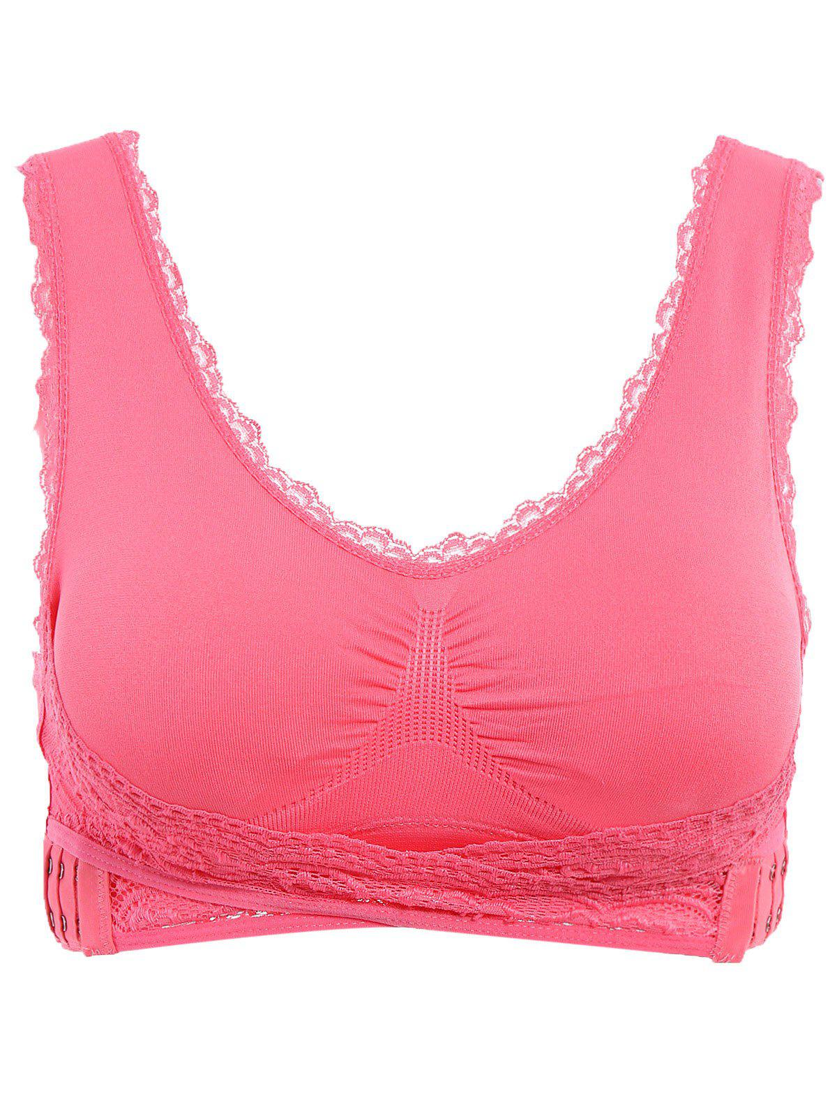 Graceful V Neck Solid Color Lace Splicing Push Up Women's Wrap Sports Bra - WATERMELON RED M