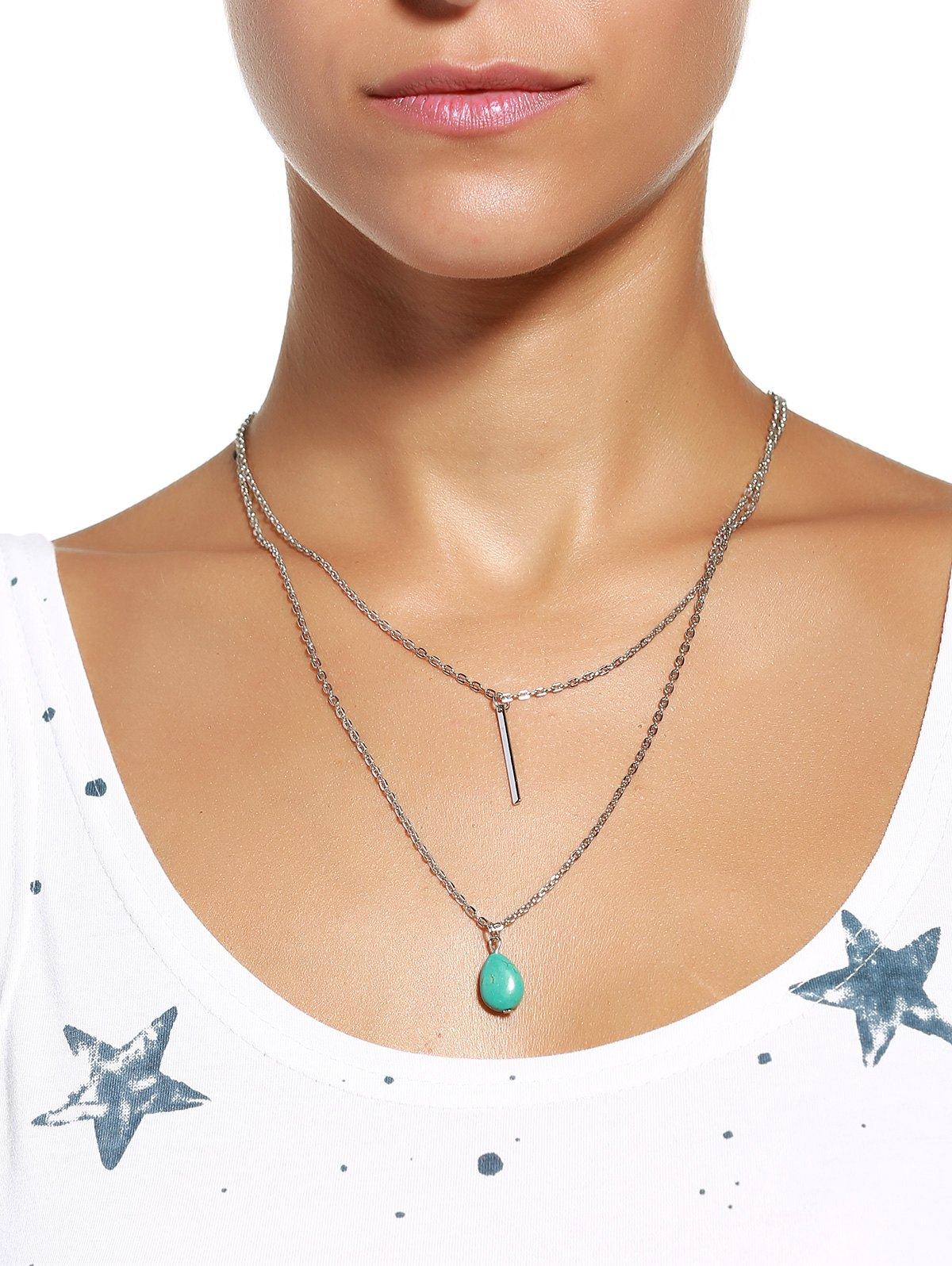 Chic Waterdrop-Shaped Turquoise Embellished Double-Layer Necklace For Women - SILVER