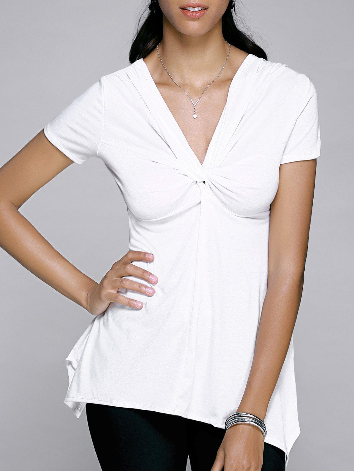 V-Neck Twist Asymmetric Tee - WHITE XL