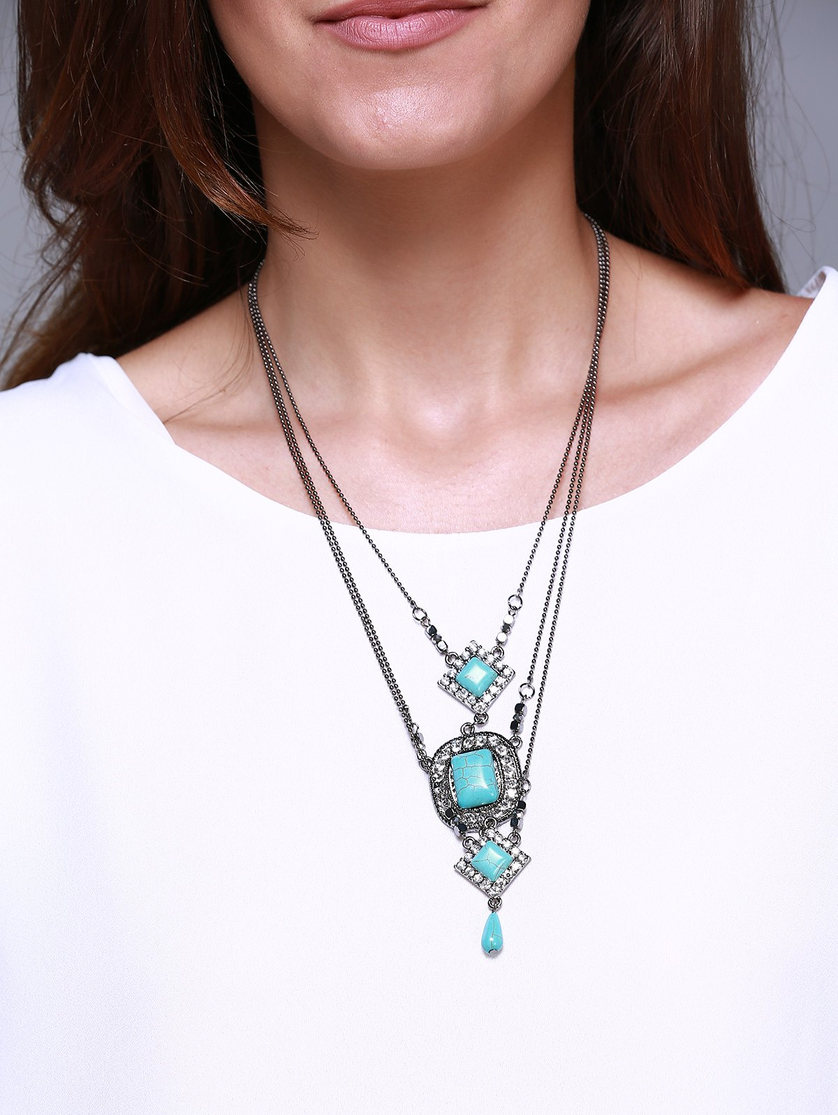 Graceful Turquoise Rhombus Oval Multi-Layered Necklace For Women
