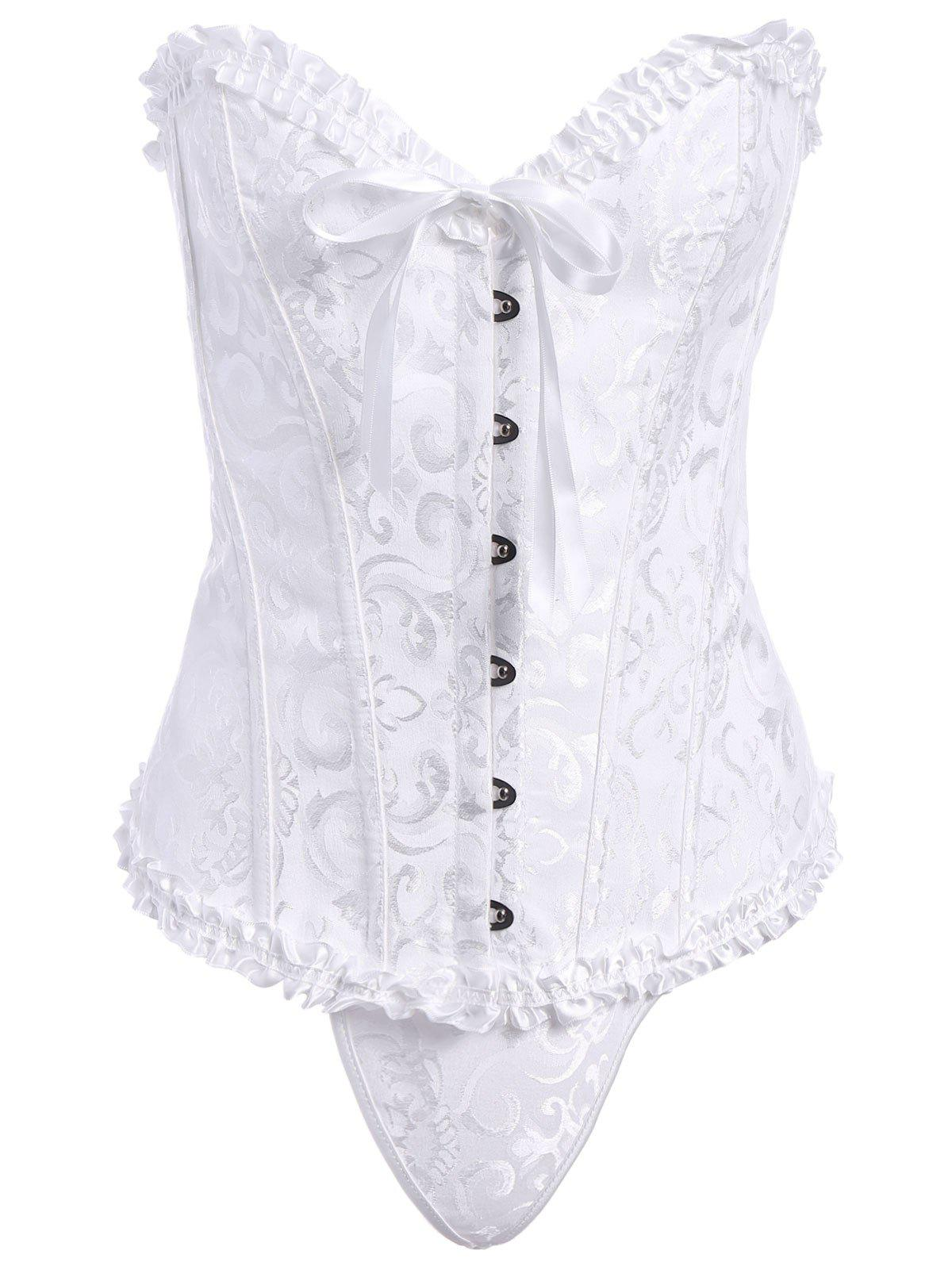 Charming Bowknot Design Lace-Up Corset and Panties Twinset For Women - WHITE L