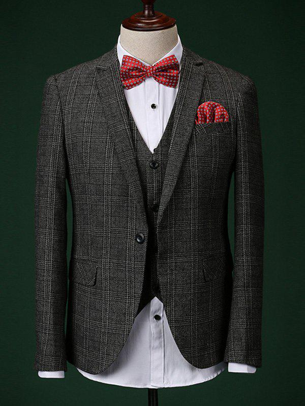 Formal Men's Checked Blazer + Vest + Pants With Bow Tie And Scarves