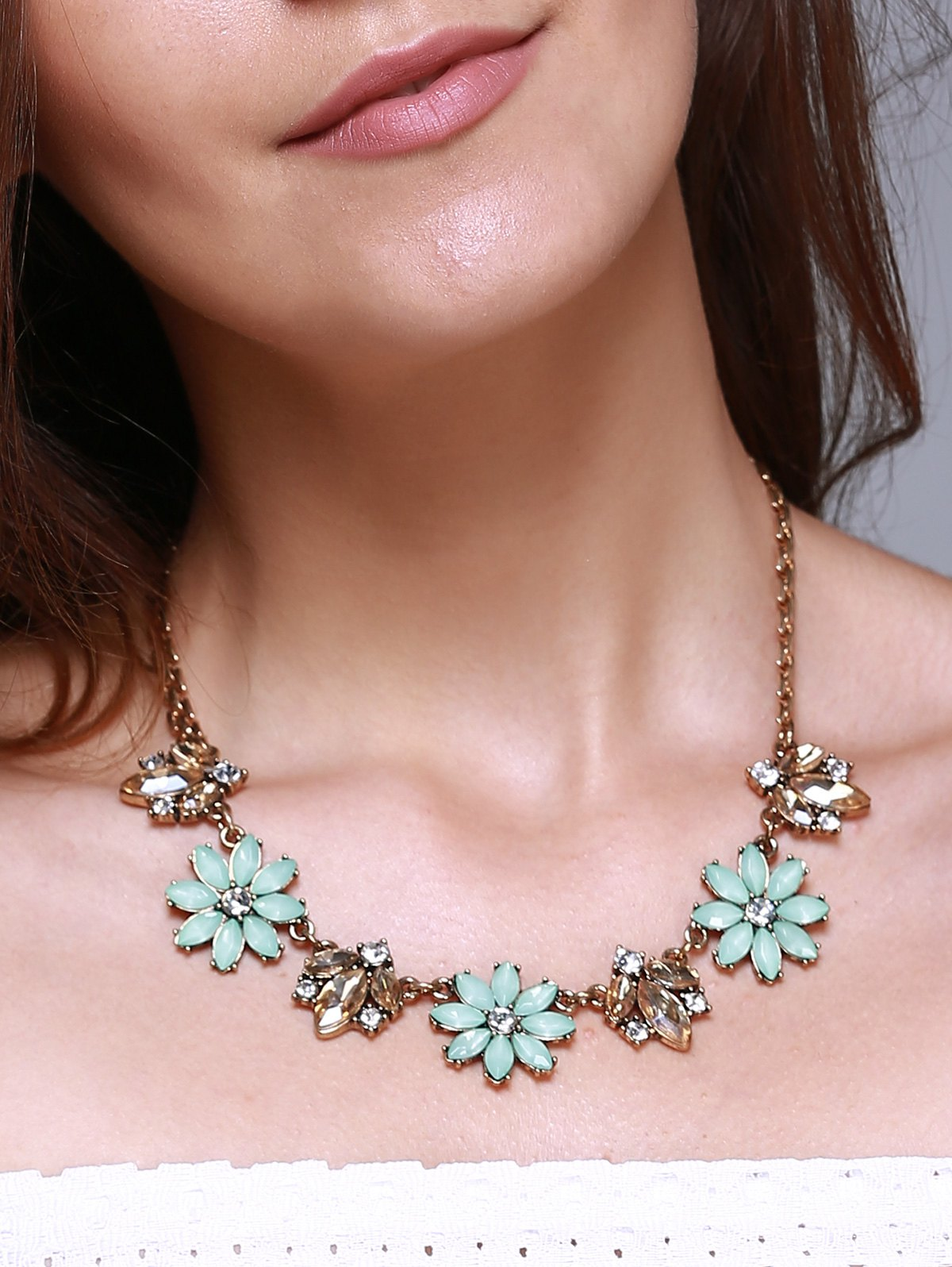 Faux Gem Alloy Floral Necklace - GOLDEN