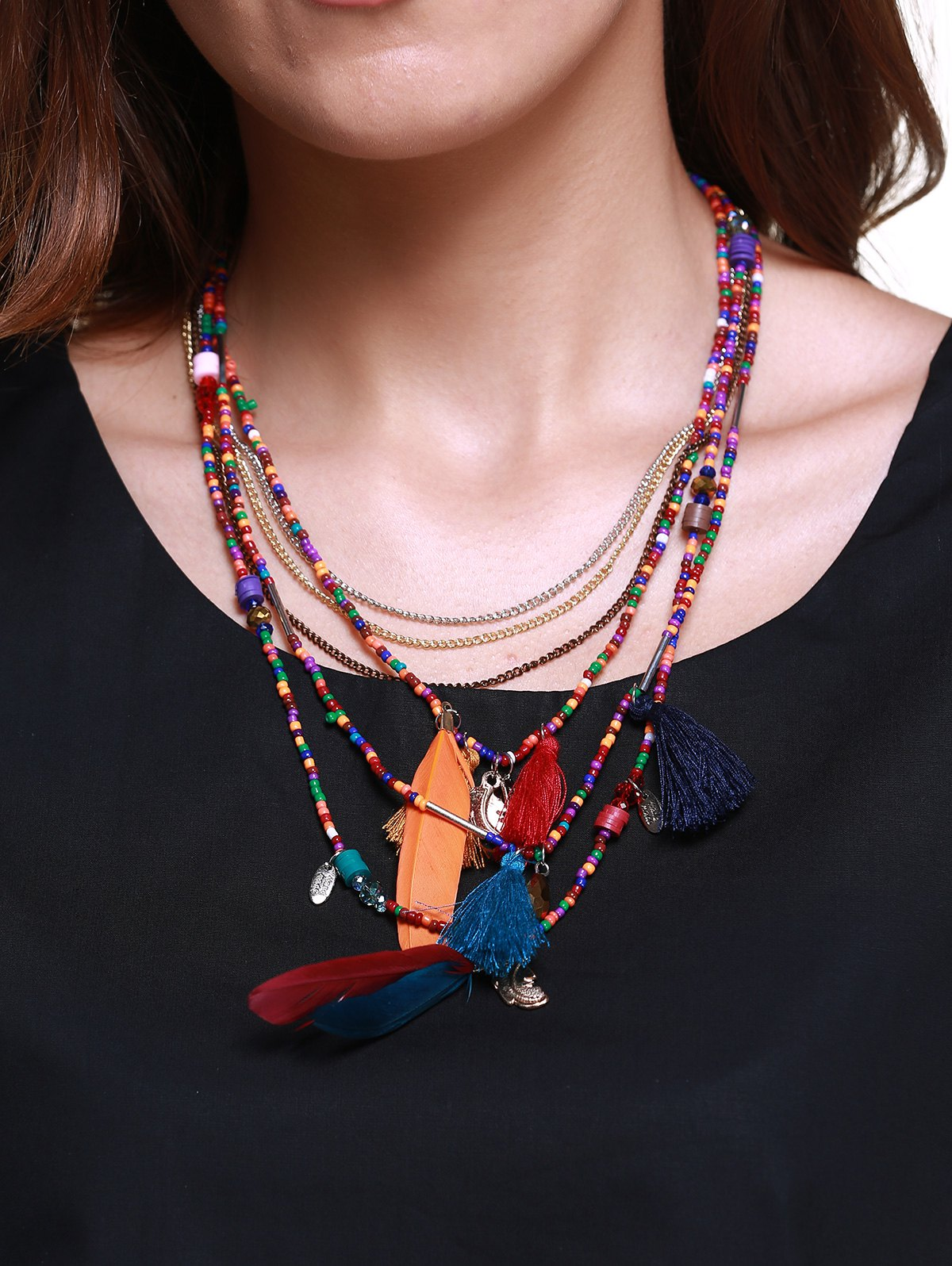 Ethnique Multilayer Faux Feather Tassel collier de perles pour les femmes - multicolorcolore