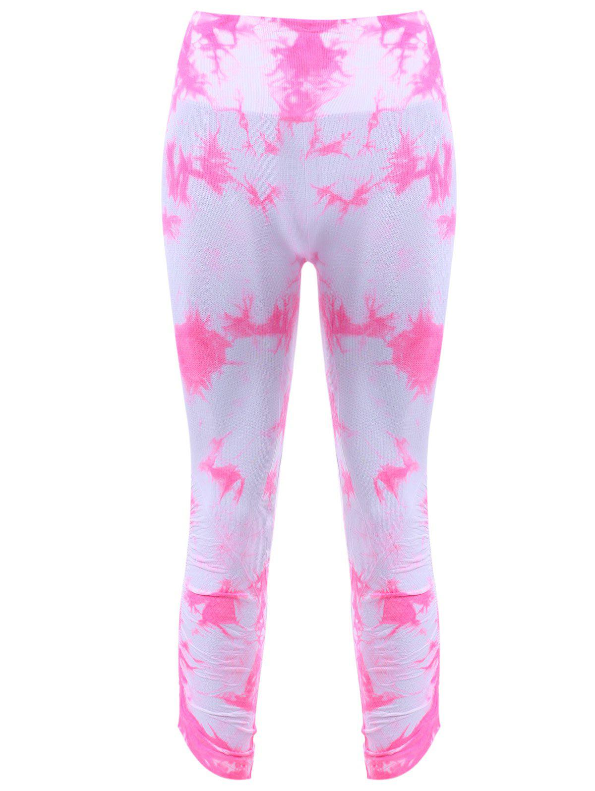 Active Elastic Waist Tie Dyed Cropped Leggings - PINK XL