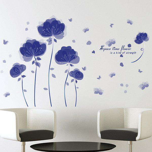 Hot Selling Waterproof Space Time Flowers Removeable Wall Stick - DEEP BLUE