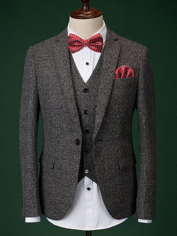 Formal Men's Houndstooth Blazer + Vest + Pants With Bow Tie And Scarves - DEEP GRAY XL
