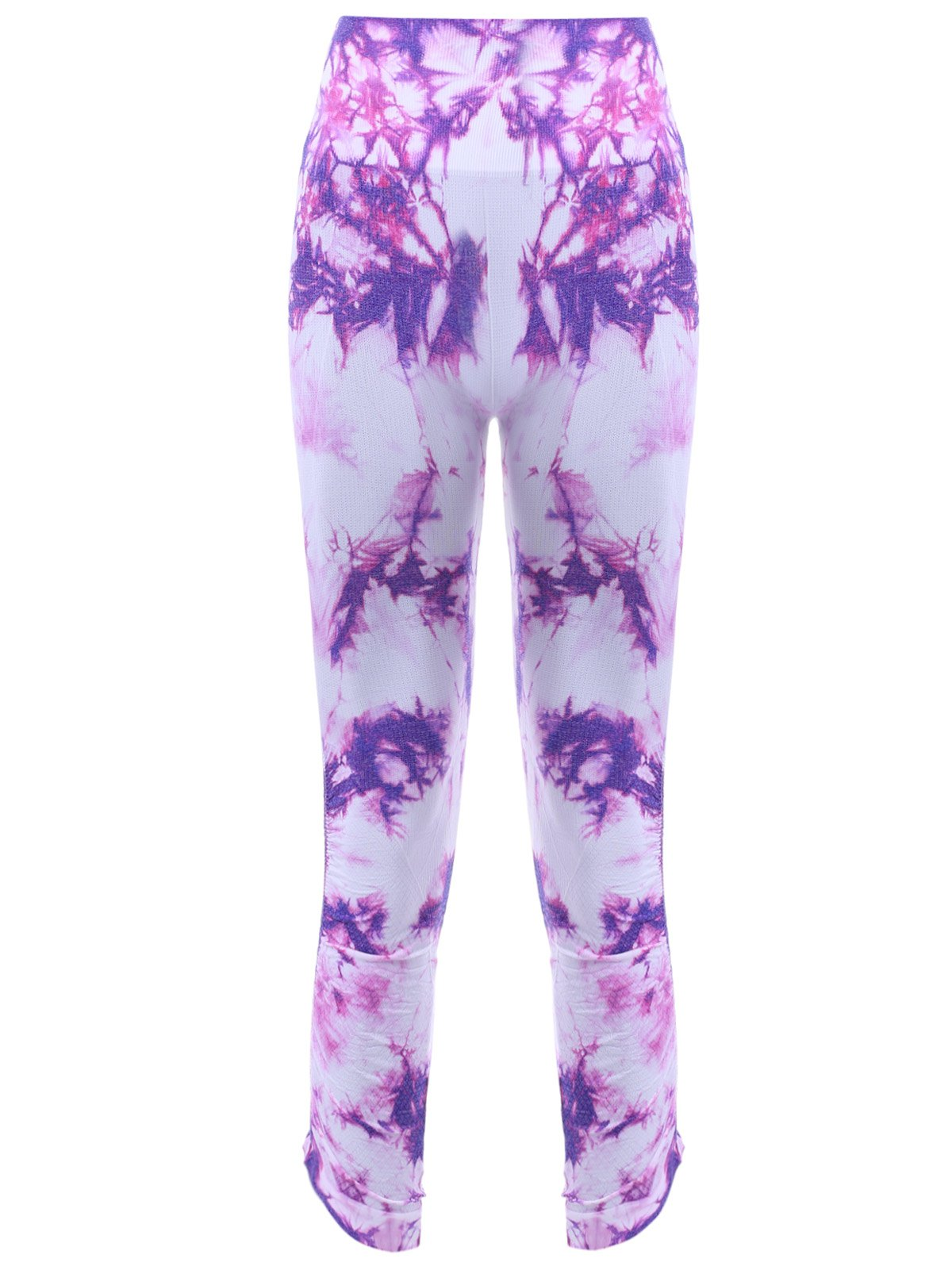 Sports Elastic Waist Tie Dyed Cropped Leggings - PURPLE XL