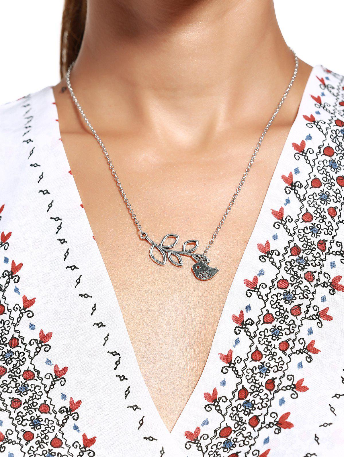 Stylish Chic Women's Leaf Bird Pendant Necklace - AS THE PICTURE
