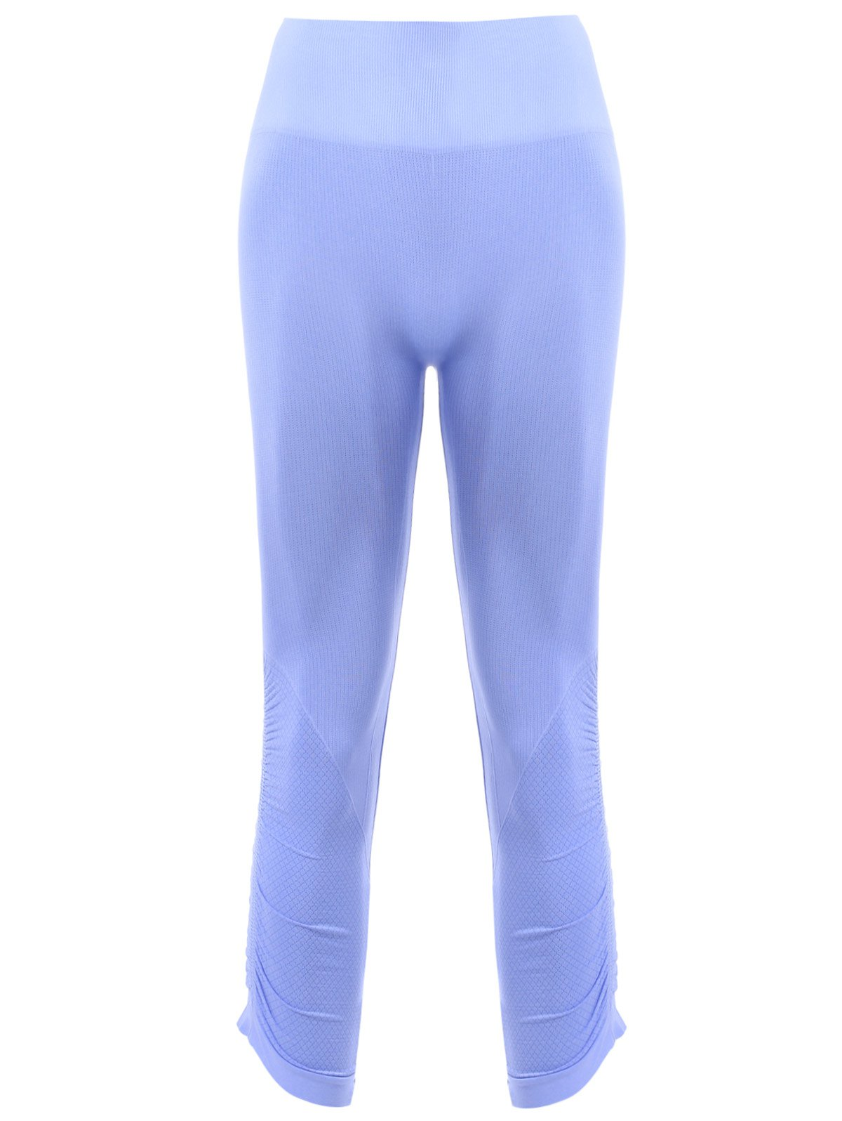 Sports Elastic Waist Solild Color Cropped Leggings