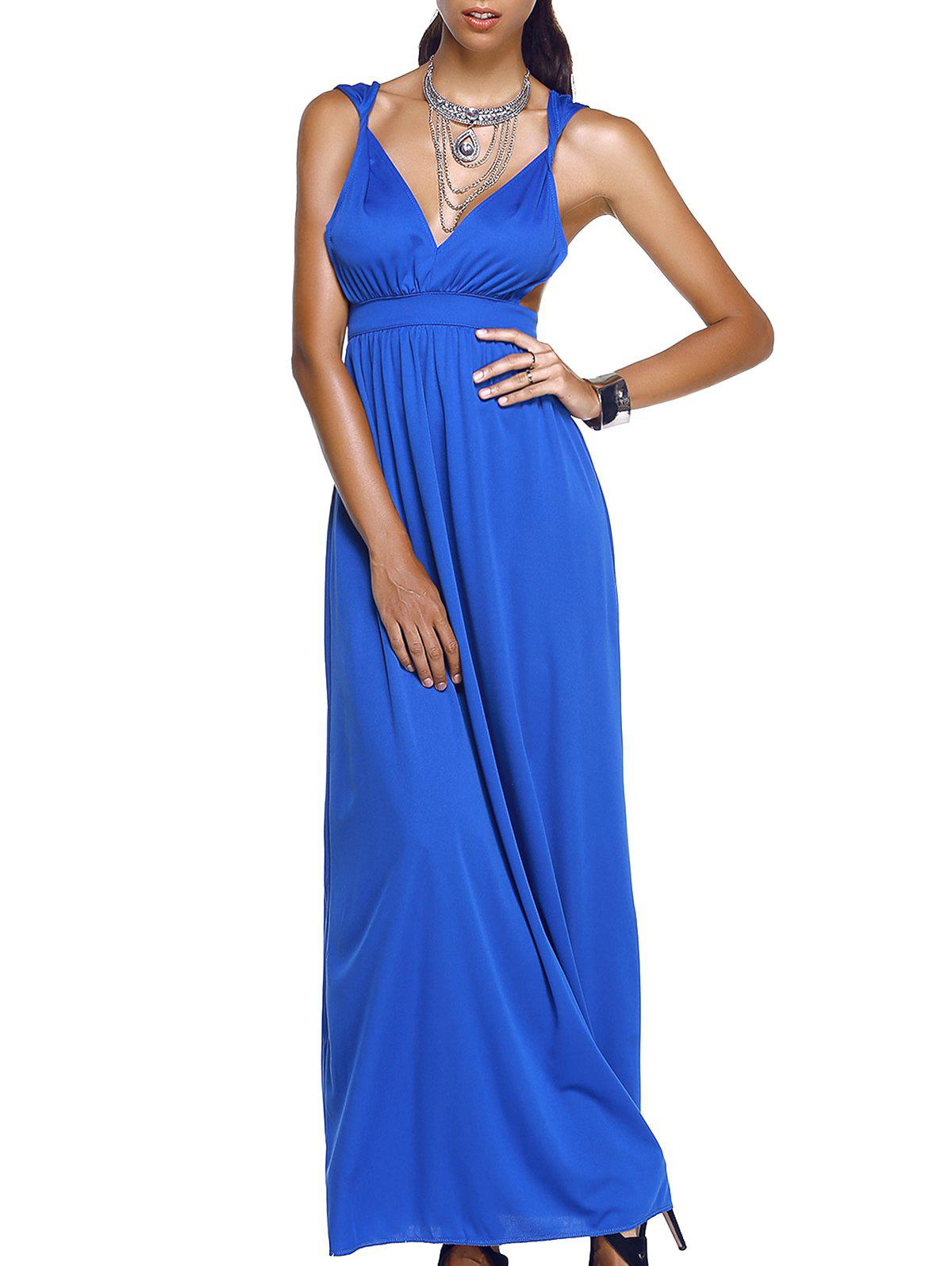 Trendy Sleeveless Plunging Neck Cut Out Solid Color Women's Dress