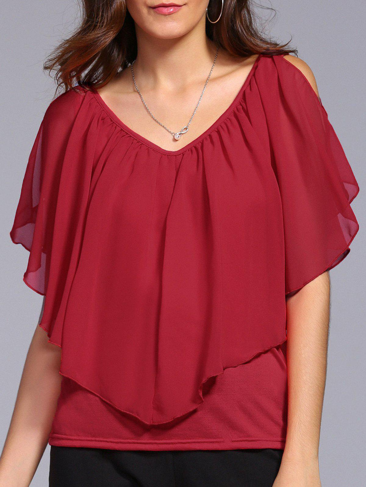 V Neck Cold Shoulder Overlay Chiffon Blouse - RED M
