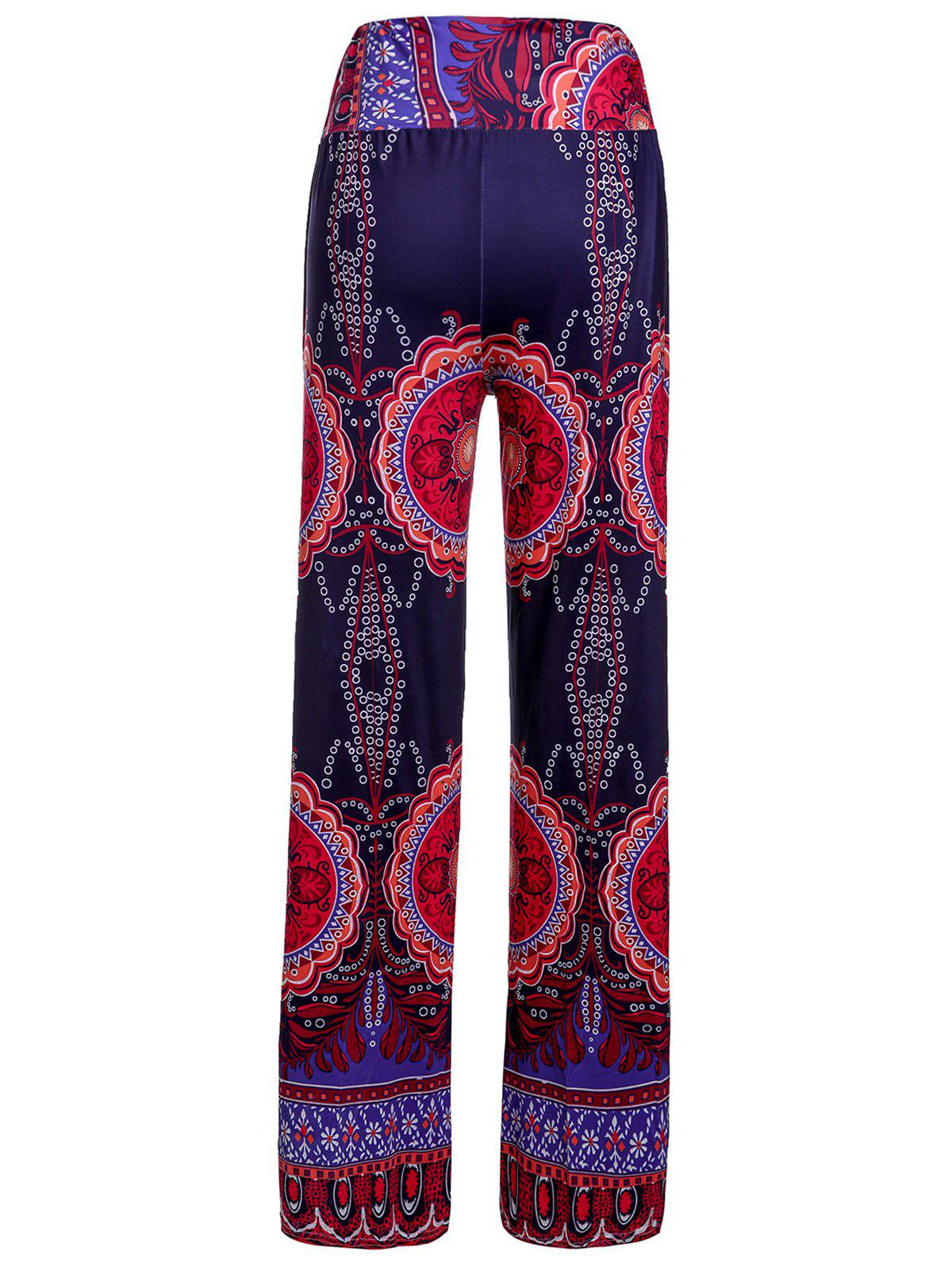 Ethnic Style Floral Print Elastic Waist Exumas Pants For Women 2018 new headbands for women print chiffon boho ethnic style elastic hairbands lady hair ornament holder hair bands accessories