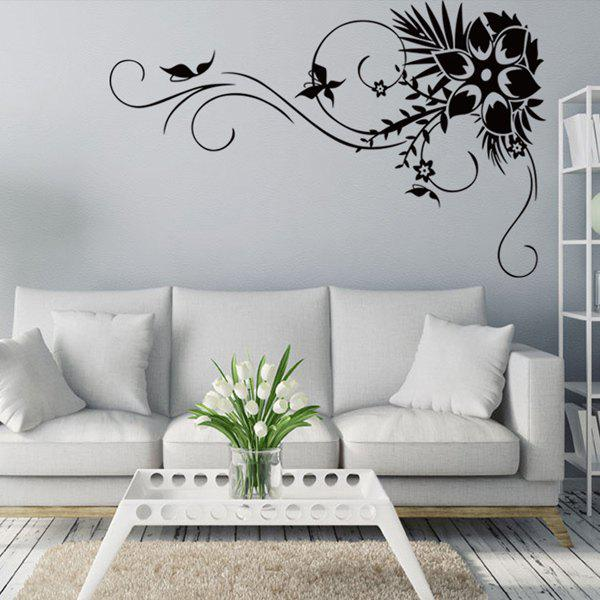 Hot Selling Removeable Black Flower Rattan Wall Stick