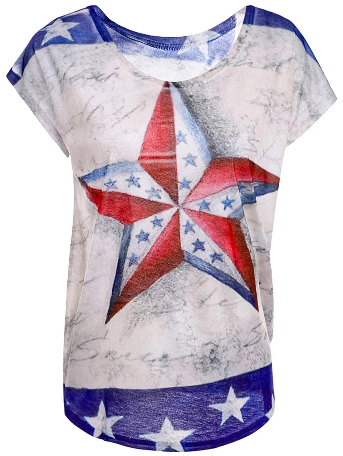 Casual Women's Scoop Neck Star Print Short Sleeve T-Shirt - ONE SIZE(FIT SIZE XS TO M) WHITE