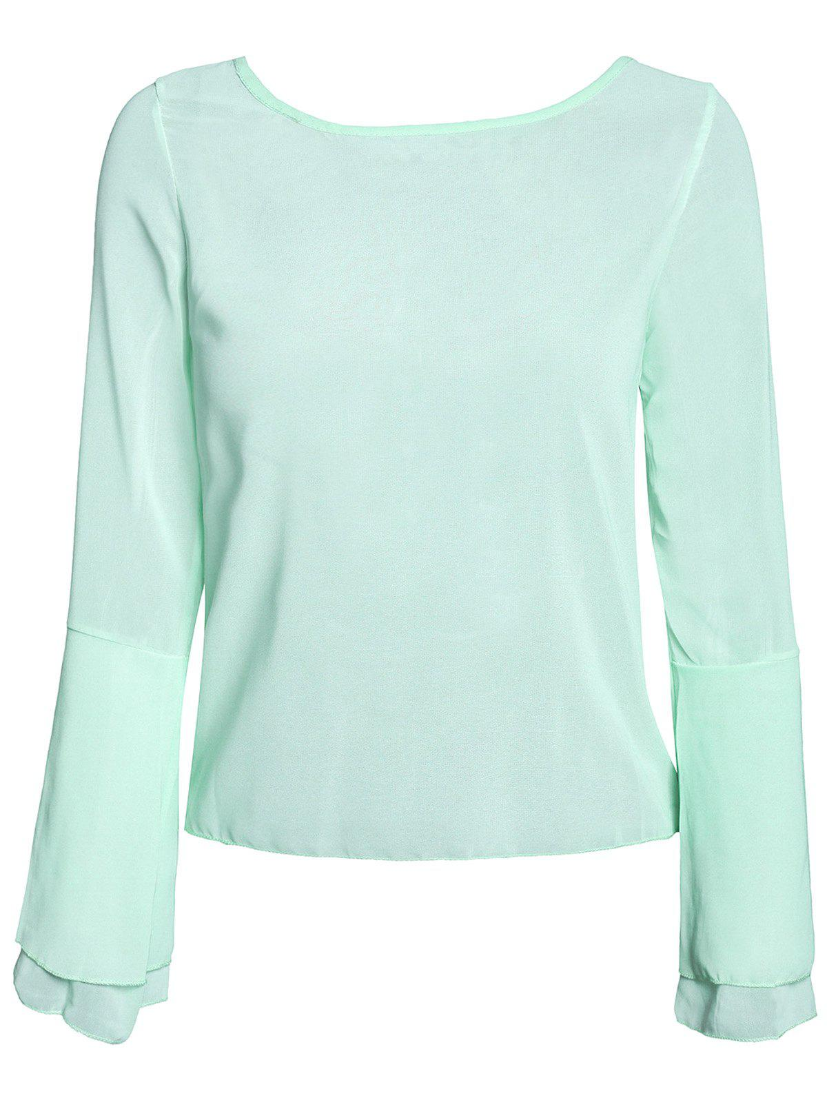 Stylish Scoop Neck Lace Spliced Backless Two-Piece Flare Sleeve Women's Blouse - GREEN M