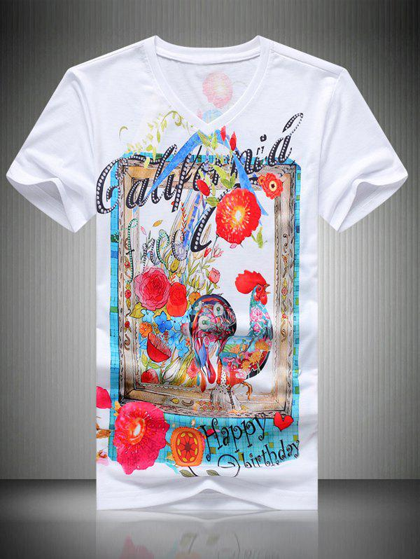 Men's Casual Rooster Printed T-Shirt