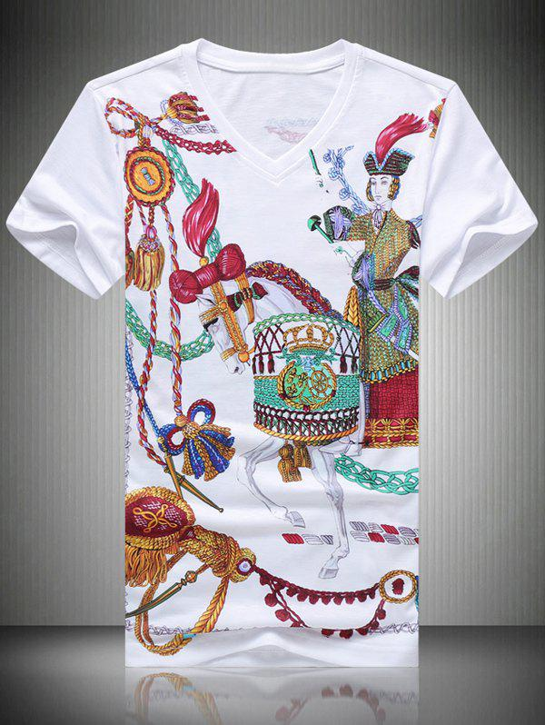 Men's Casual Horse Printed T-Shirt - 3XL WHITE