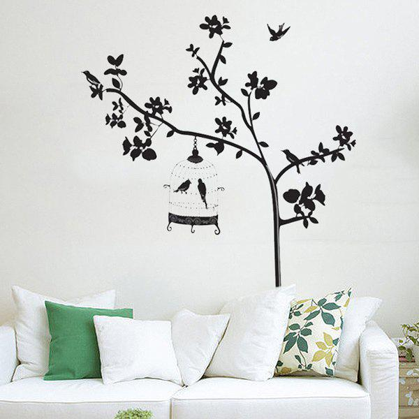 Hot Selling Removeable Black Tree Bird Wall Stick - BLACK