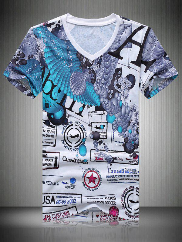 Men's Casual Letters Printing T-Shirt - COLORMIX 2XL