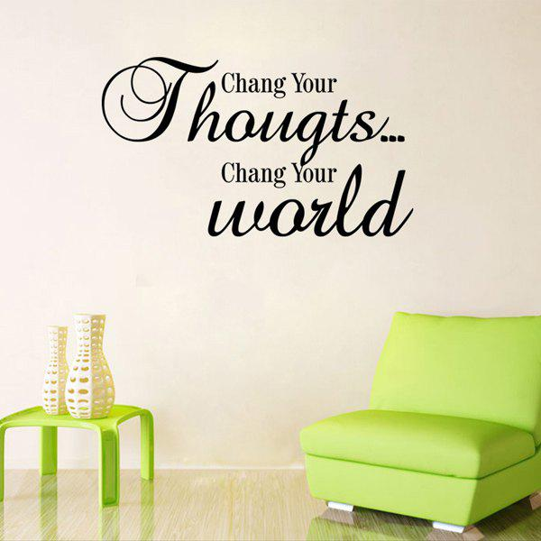 Feeling Proverbs Chang Your World Removeable Wall Stick - BLACK
