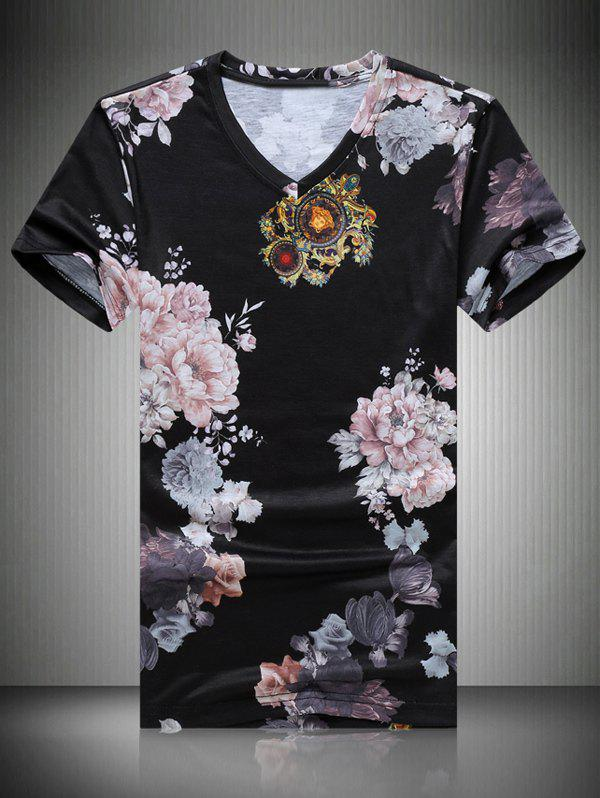 Men's Casual Flowers Printing T-Shirt - BLACK XL