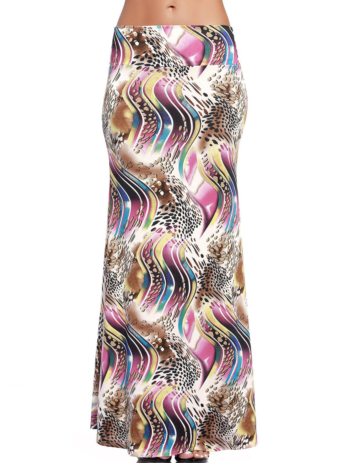 Chic High-Waist Abstract Print Long Skirt For Women - COLORMIX S